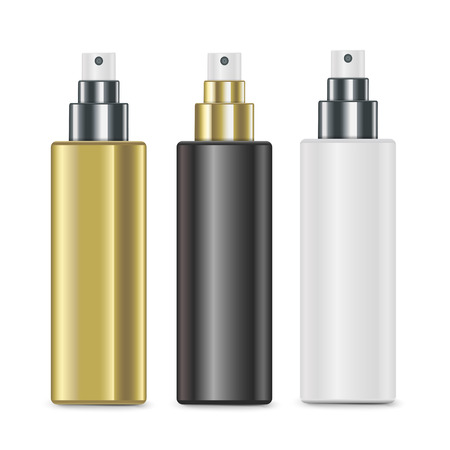 disinfectant: luxury cosmetic spray bottles set isolated on white background