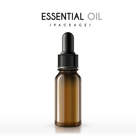essential oil package isolated on white background Illustration