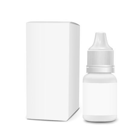 eye or ear drops bottles with box isolated on white background