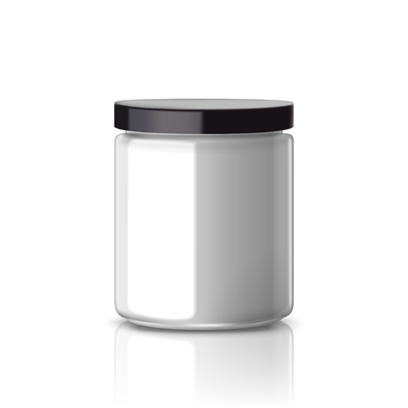 packaging design: blank glass jar with black aluminum lid isolated on white background Illustration