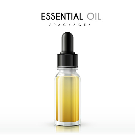 essential oil package isolated on white background Ilustrace