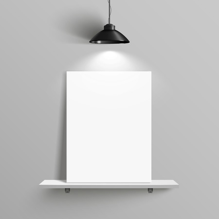 blank canvas: elegant blank canvas with illumination placed on shelf over grey wall Illustration