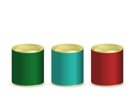 tin: blank tin cans isolated on white background