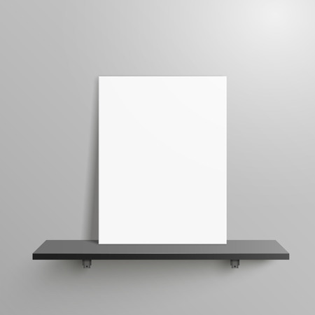 home products: elegant blank canvas placed on shelf over grey wall