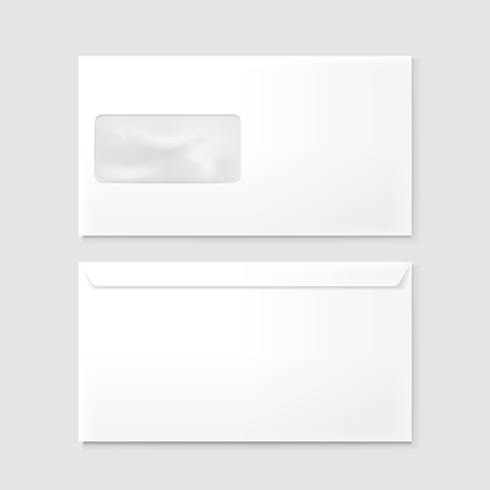 blank envelopes with window isolated on grey background