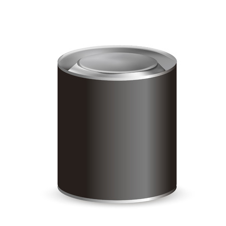 white blank: blank tin can isolated on white background