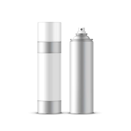 Silber-Spray-Flaschen mit dem Etikett festgelegt isoliert auf weißem Hintergrund Standard-Bild - 45530027