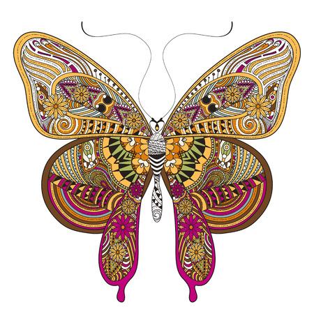 Magnifique Coloriage papillon dans un style exquis Banque d'images - 45962508
