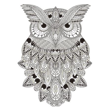 豪華なフクロウの絶妙なスタイルでページを着色
