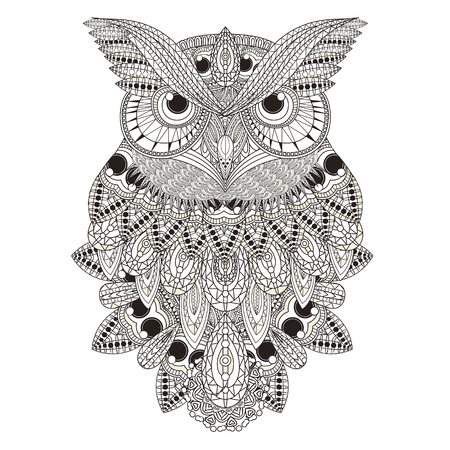 Sumptuous Owl Coloring Page In Exquisite Style Royalty Free Cliparts Vectors And Stock Illustration Image 45962507