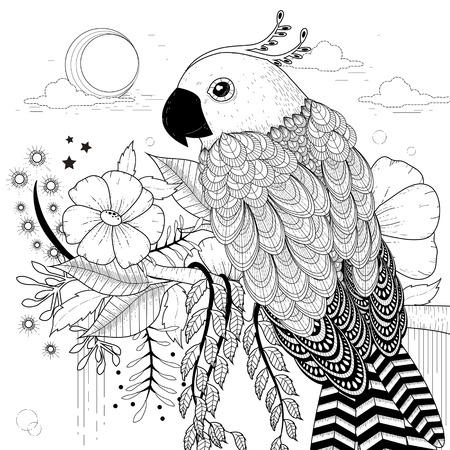 dessin noir et blanc: belle page à colorier de perroquet dans un style exquis