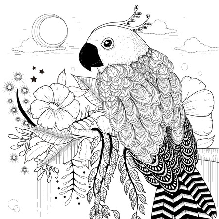 papagayo: página preciosa coloración loro en un estilo exquisito Vectores