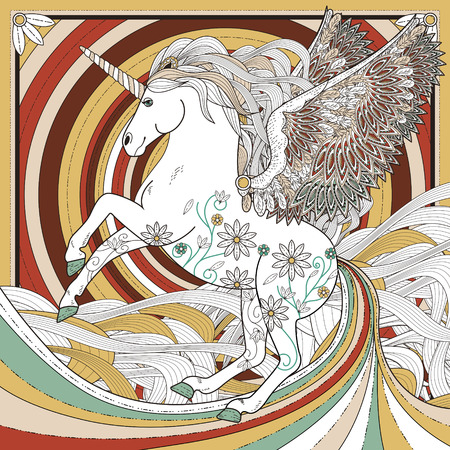 unicorn: fantastic unicorn coloring page in exquisite style
