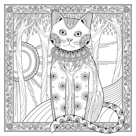 adults: elegant magic cat coloring page in exquisite style