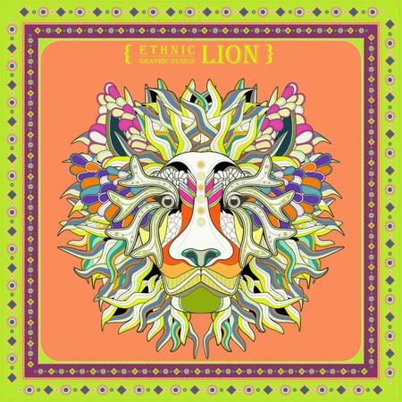 portadas libros: atractivo diseño de páginas para colorear cabeza de león en estilo étnico