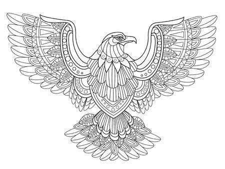 절묘한 스타일로 독수리 착색 페이지를 비행 일러스트