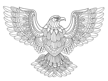 outline bird: flying eagle coloring page in exquisite style