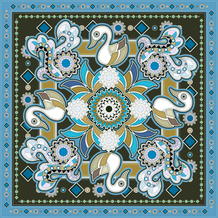 ethnic style: colorful swan coloring page in ethnic style Illustration