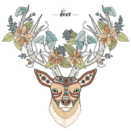 exquisite: elegant deer head coloring page in exquisite style Illustration