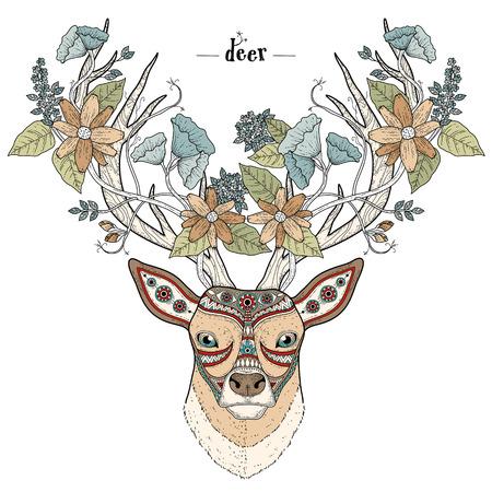 venado: para colorear cabeza de ciervo elegante estilo exquisito