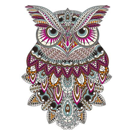 PPIGEs Eule Färbung Seite im exquisiten Stil Standard-Bild - 46041493