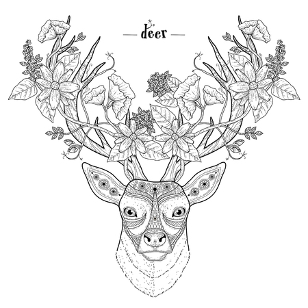 black and white flowers: elegant deer head coloring page in exquisite style Illustration
