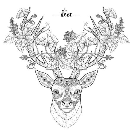 dessin fleur: �l�gante Coloriage t�te de cerf dans un style exquis Illustration