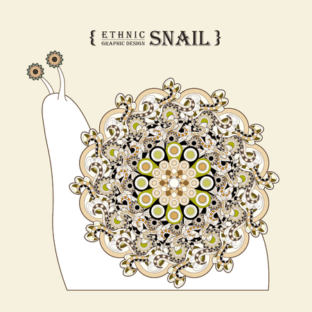 exquisite: lovely snail coloring page in exquisite style Illustration