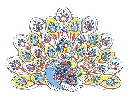 coloured: elegant peacock coloring page in exquisite style Illustration
