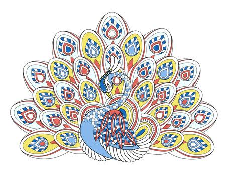 pavo real: P�gina elegante colorear pavo real en un estilo exquisito