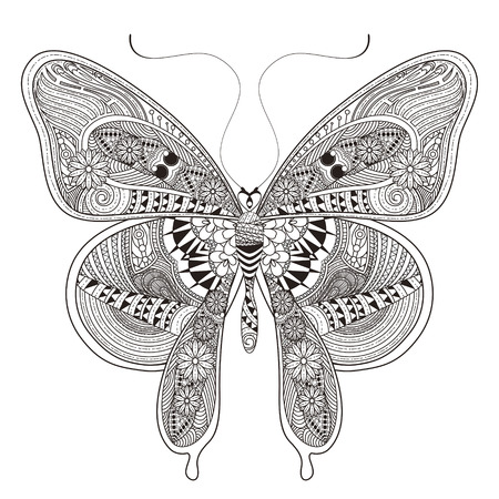 butterflies: gorgeous butterfly coloring page in exquisite style