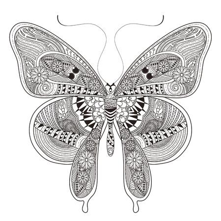 animal print: hermosa página para colorear mariposa en un estilo exquisito Vectores