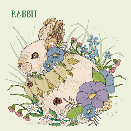 exquisite: adorable rabbit coloring page in exquisite style