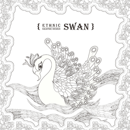 detailed: graceful swan coloring page in exquisite style Illustration