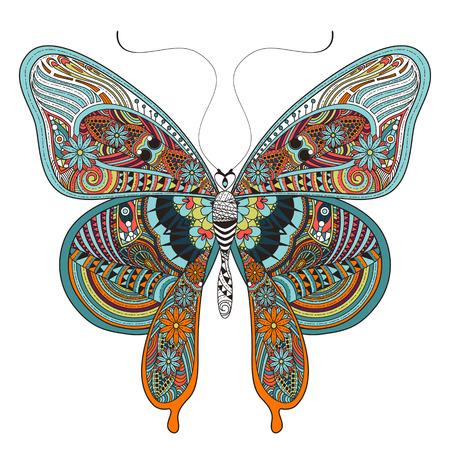 Magnifique Coloriage papillon dans un style exquis Banque d'images - 46042033