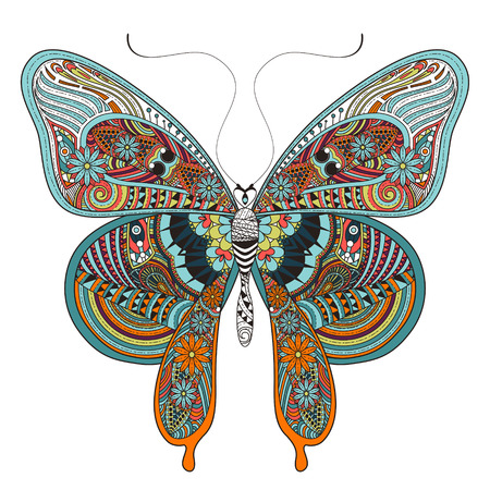 farfalla tatuaggio: splendida colorare farfalla in stile squisito