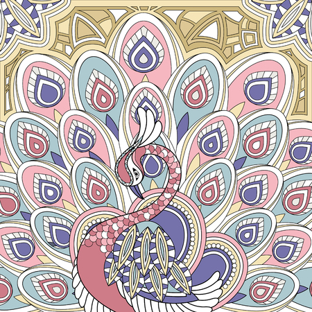 exquisite: elegant peacock coloring page in exquisite style Illustration