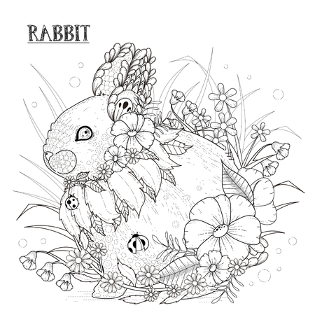 adults: adorable rabbit coloring page in exquisite style