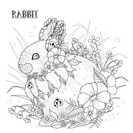encantador: página para colorir coelho adorável em estilo requintado