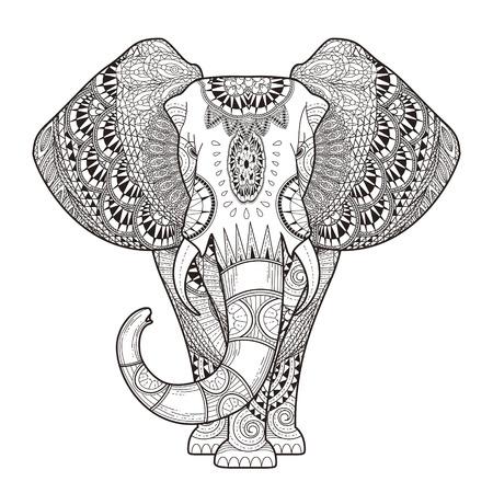 優雅な象の絶妙なスタイルでページを着色  イラスト・ベクター素材