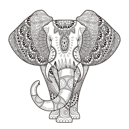 elefante: Colorear elefante elegante en un estilo exquisito Vectores
