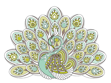 elegant peacock coloring page in exquisite style Illustration