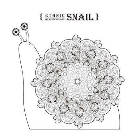 feelers: lovely snail coloring page in exquisite style Illustration