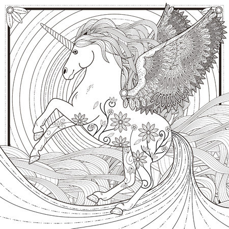 Fantástica página para colorear unicornio en un estilo exquisito Foto de archivo - 46042115