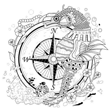 bussola: bella colorare cavalluccio marino in stile squisito Vettoriali