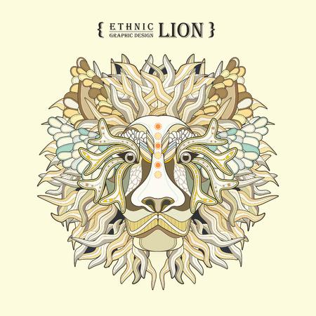dessin au trait: lion Coloriage tête dans un style exquis