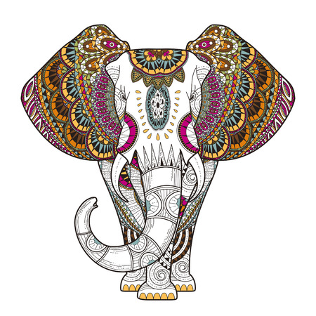 절묘한 스타일의 우아한 코끼리 색칠 페이지