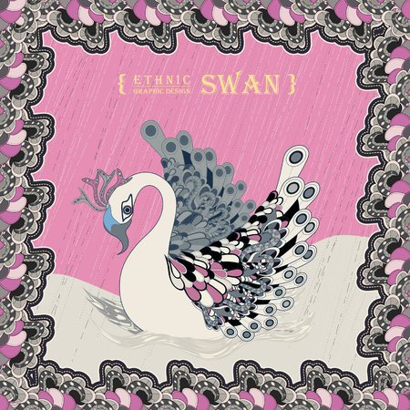 exquisite: graceful swan coloring page in exquisite style Illustration