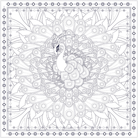 animal: gorgeous peacock coloring page design in ethnic style