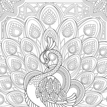 adults: elegant peacock coloring page in exquisite style Illustration